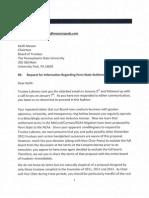 Letter to Keith Masser for Information Regarding Penn State Settlement Proposal 1-12-15