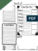 2015 Weekly Menu Plan Printable