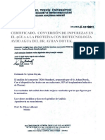 Certificado KOSGEB y UIT. Descontaminación de Agua Tóxica a BioNutriente AyDo. Istanbul-Parcial