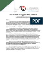 DECLARACIÓN DE LA CONVENCIÓN NACIONAL DEL PARTIDO INTRANSIGENTE (2011)