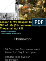 Fourth Quarter - Lesson 8 -  Fifth Commandment  Session 2