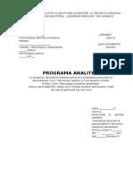 Programa Biochimia Materiei Prime Şi a Produselor Prelucrării Ei