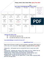 After School Clubs Application Spring Term 2015