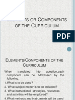 Elements or Components of the Curriculum (Dr.susan M.talavera)
