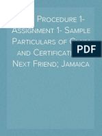 Civil Procedure 1- Assignment 1- Sample Particulars of Claim and Certificate of Next Friend; Jamaica