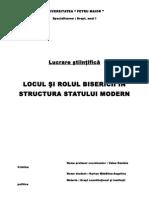 Locul Si Rolul Bisericii in Structura Statului Modern