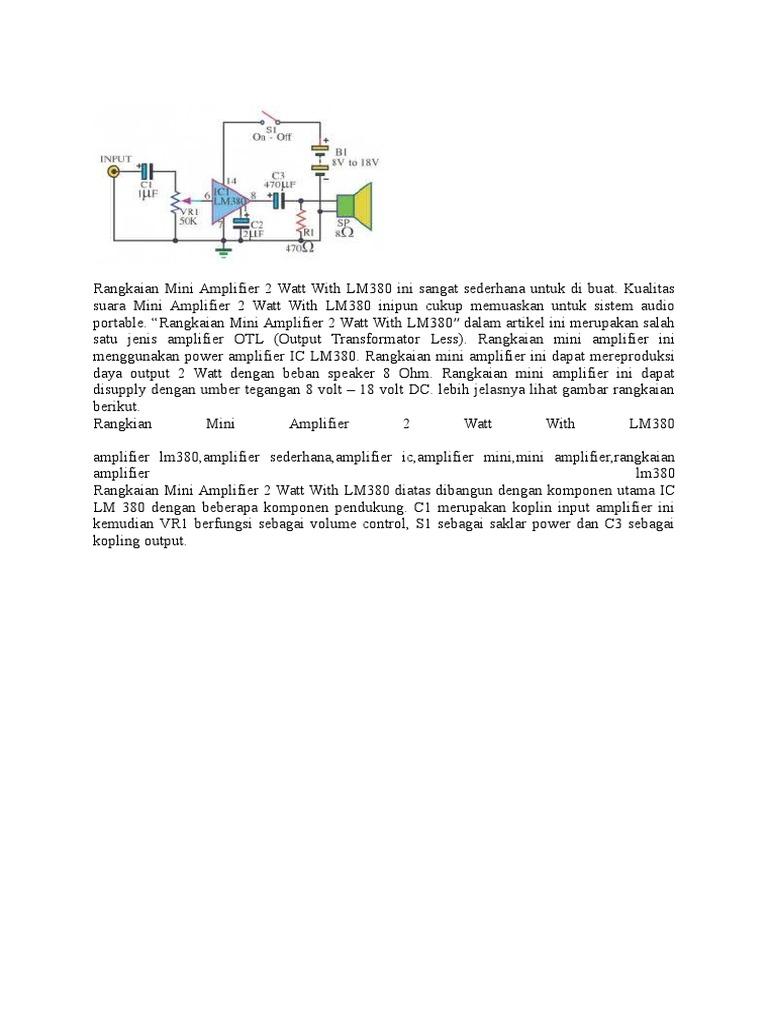 Rangkaian Mini Amplifier 2 Watt With Lm380 Ini Sangat Sederhana Power Audio Circuit Untuk Di Buat