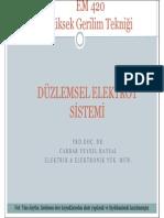 Yüksek Gerilim Tekniği - Erciyes Üniversitesi - Düzlemsel Elektrot Sistemi