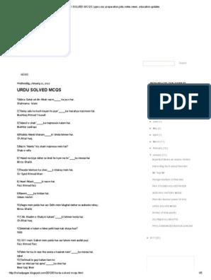 URDU SOLVED MCQS _ Ppsc,Css Preparation,Jobs,Notes,News ,Education