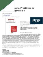 Emile Benveniste, Problèmes de linguistique générale 1 _ art, langage, apprentissage