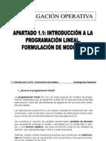 1.1. Introduccion a La PL. Formulacion de Modelos
