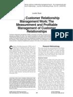 Making Customer Relationship Management Work:The Measurement and Profitable Management of Customer Relationships