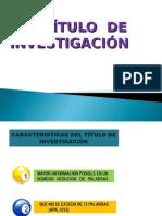 TITULO DE INVESTIGACIÓN