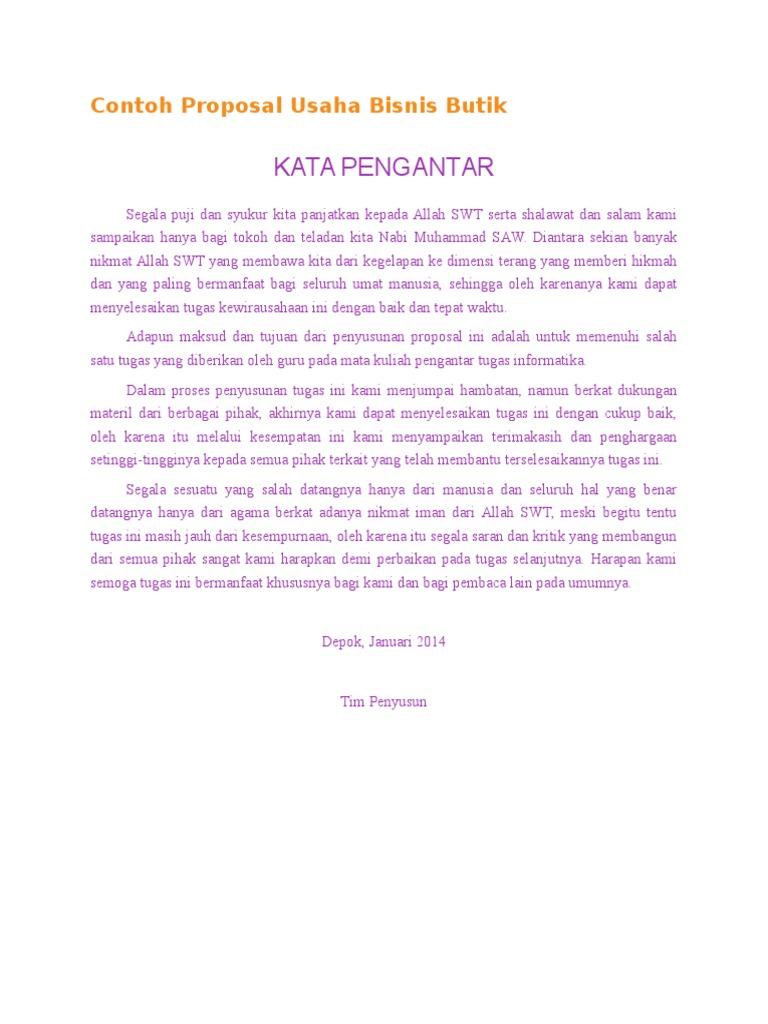 Contoh Proposal Usaha Bisnis Butik