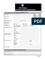 Villa College application form