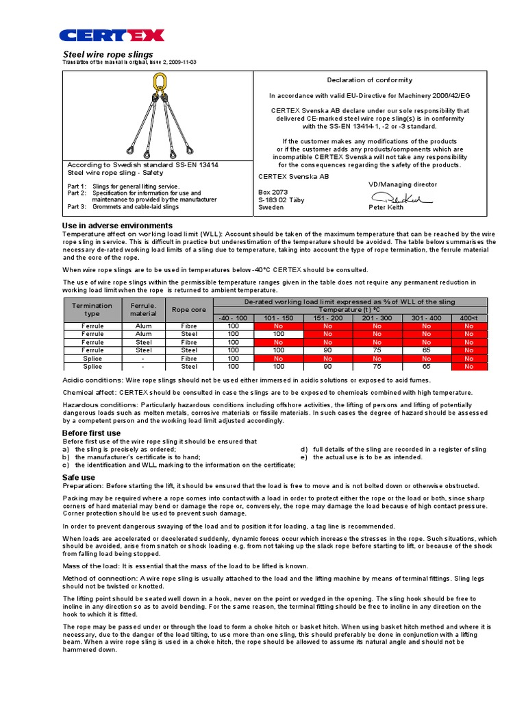 User Manual Wire Rope Sling | Rope | Corrosion