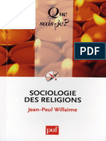 Sociologie Des Religions - Willaime Jean-Paul