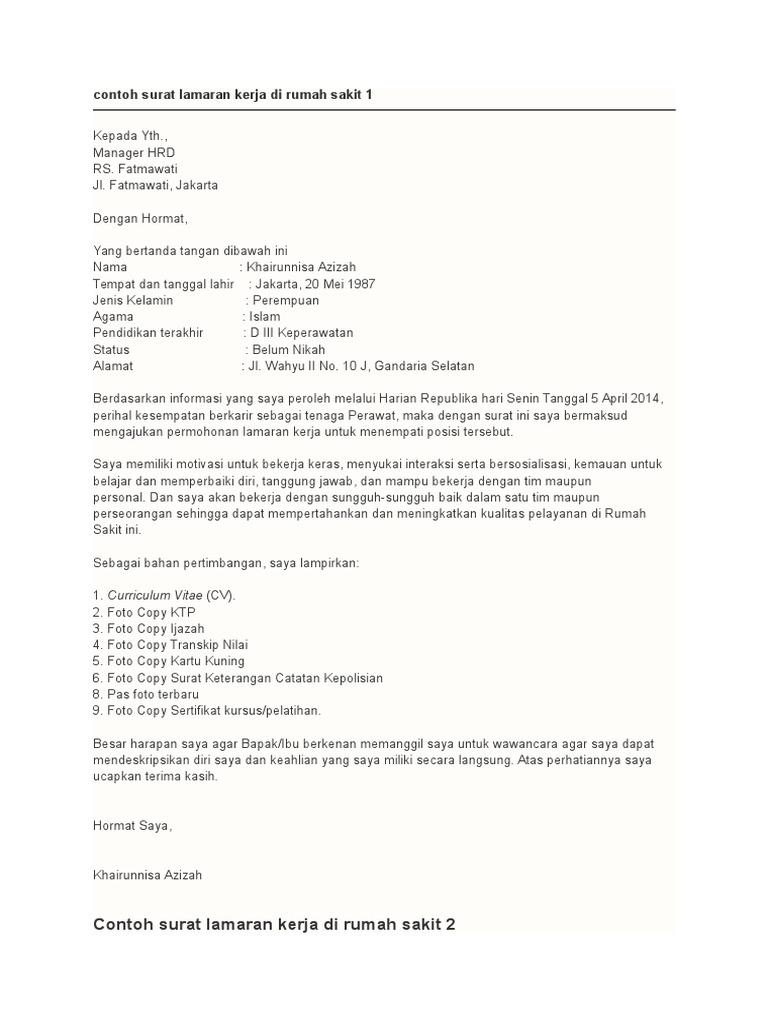 31++ Contoh surat lamaran kerja laundry terbaru yang baik