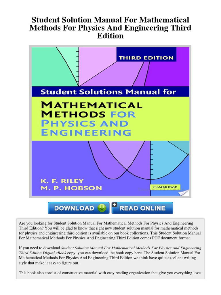 survey of mathematical methods Survey of mathematical methods for engineers and scientists ordinary differential equations and green's functions partial differential equations and separation of variables special functions, fourier series.