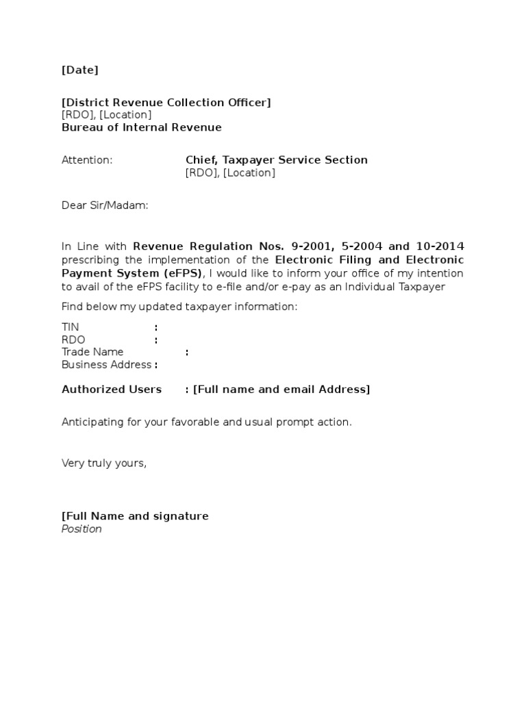 Template bir efps letter of intentions individual tax payer yadclub Images