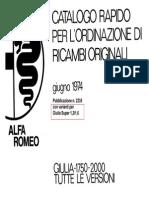 ALFA ROMEO GIULIA original Spere Parts booklet