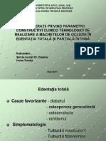 Considerații Privind Parametrii Constructivi Clinico Tehnologici de Realizare