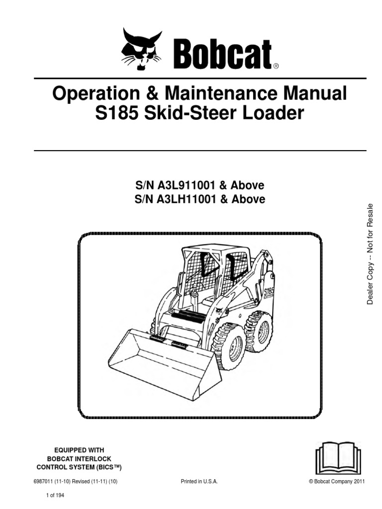 Bobcat_S185_Skid_Steer.pdf | Loader (Equipment) | Elevator