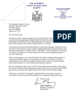 Assemblyman Dean Murray's Letter to Gov. Cuomo