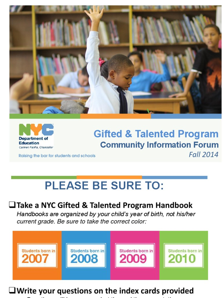 NYC Gifted & Talented Roosevelt Island Community Forum | Gifted Education | Individualized Education Program