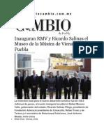 14-01-2015 Diario Matutino Cambio de Puebla - Inauguran RMV y Ricardo Salinas El Museo de La Música de Viena en Puebla