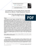 An Architecture for Personality-based, Nonverbal Behavior in Affective Virtual Humanoid Character