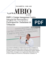12-01-2015 Diario Matutino Cambio de Puebla - RMV y Campa Inauguran Centro Integral de Prevención y Participación Ciudadana en Tehuacán