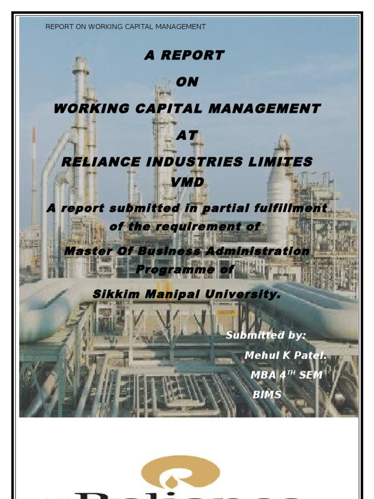 reliance industries working capital management