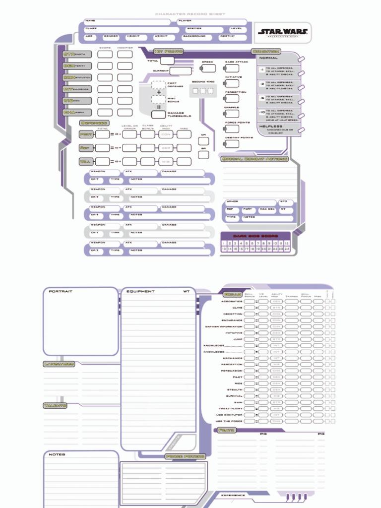 star wars saga edition character sheet