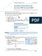 Tp1 Gestion Base de Donnees access 2007