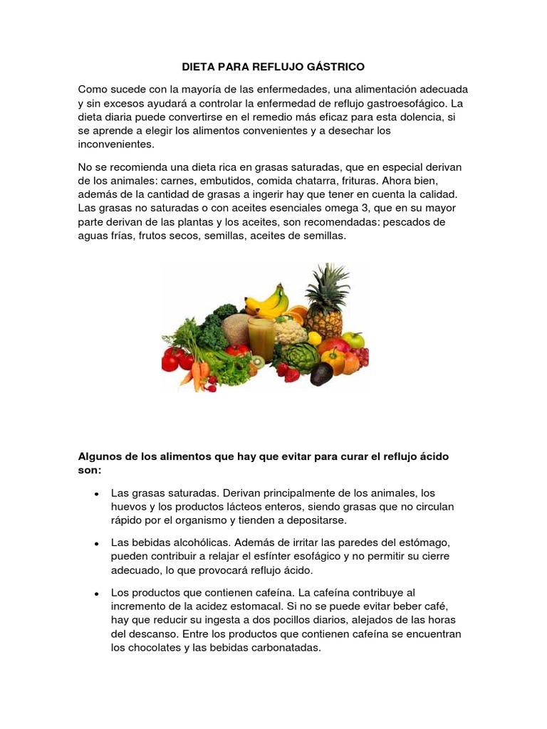 dieta para el reflujo gastroesofagico en niños