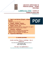 LAMPEA-Doc 2010 - numéro 2 / Vendredi 15 janvier 2010
