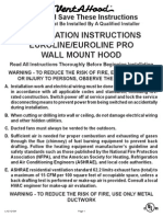 Eurostyle Wall Mount Range Hood Installation Instructions