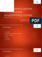 Playing serious games in introductory programming courses