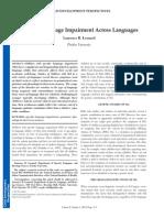 Specific Language Impairment Across Languages