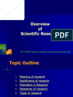 LECTURE 1 Overview of Scientific Research