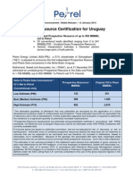 Comunicado de la empresa Petrel Energy anunciando la certificación