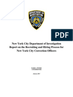 New York City Department of Investigation Report on the Recruiting and Hiring Process for New York City Correction Officers