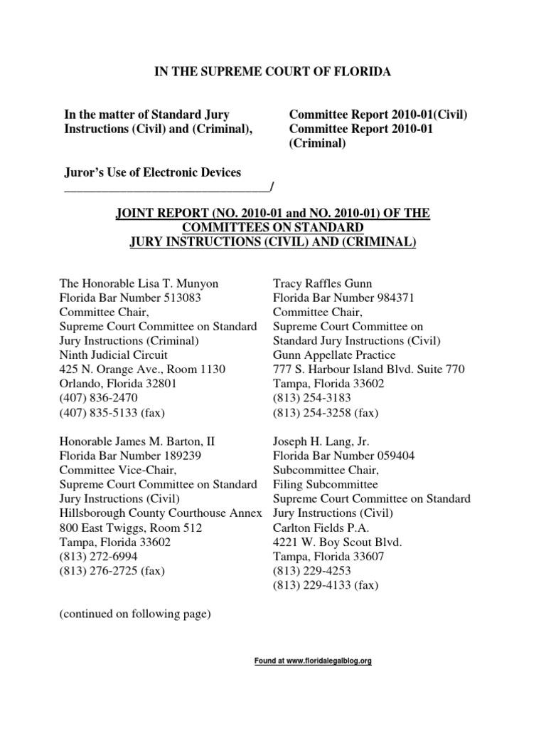 Social Media Petition 1 15 2010 Objection Law Cross Examination