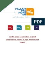 Conflit Entre Constitution Et Droit International Devant Le Juge Administratif