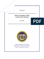 April 2008 Audit of the Carroll County Register of Wills