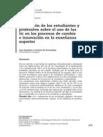 Percepcion de Los Estudiantes y Profesores Sobre El Uso de Las Tic en Los Procesos de Cambio e Innovacion en La Enseñanza