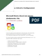 Microsoft Word o Excel Non Aprono Direttamente i File