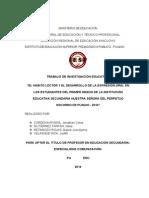"""""""EL HÁBITO LECTOR Y EL DESARROLLO DE LA EXPRESIÓN ORAL EN LOS ESTUDIANTES DEL PRIMER GRADO DE LA INSTITUCIÓN EDUCATIVA SECUNDARIA NUESTRA SEÑORA DEL PERPETUO SOCORRO DE PUQUIO - 2014"""""""