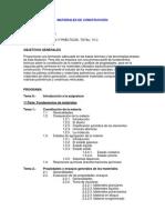 Programa de Clase Materiales de Construccion